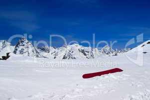 Snowboard on the ski slope