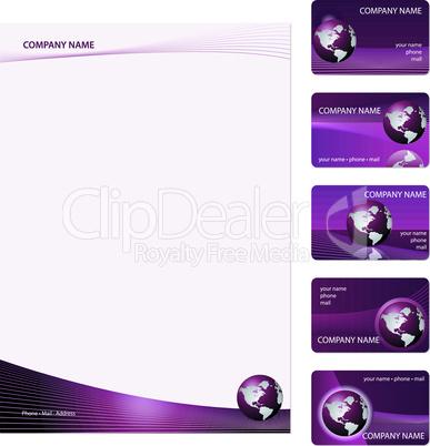 Set of five purple business cards