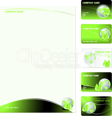 Set of five green planet business cards