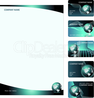 Set of five blue business cards
