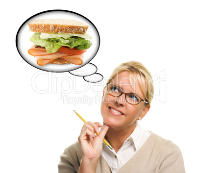 Hungry Woman with Thought Bubbles of Big, Fresh Sandwich