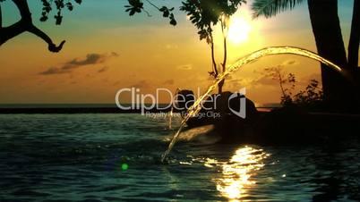 fountain sundown ocean pool