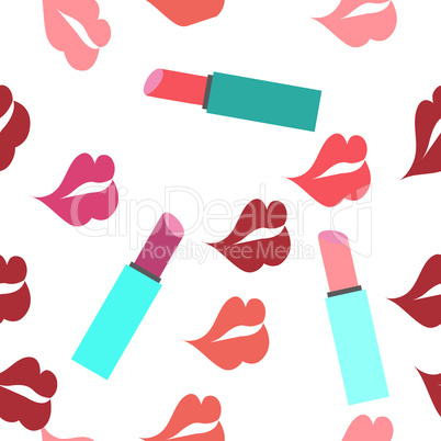 Seamless texture with a lot of color lips prints