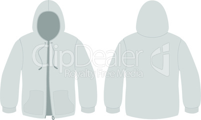Hooded sweater with zipper template vector illustration.
