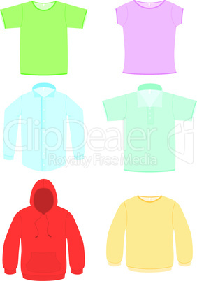 Clothing vector illustration set.