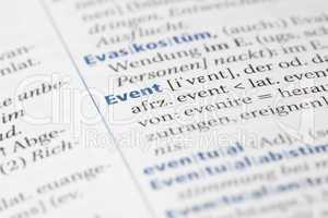 Wort Event im Wörterbuch