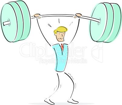 Mann mit Gewichten