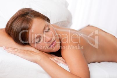 White lounge - Woman in spa treatment