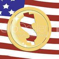 Dollar golden emblem