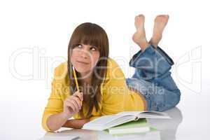 Student - Happy female teenager write homework think