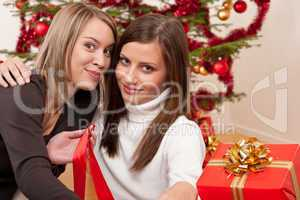 Two young women in front of Christmas tree