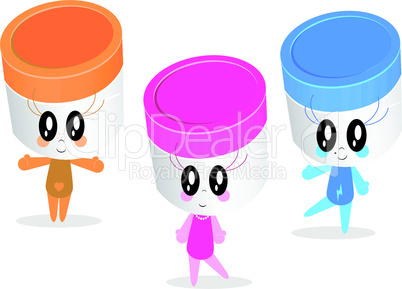 Vector character illustrations of plastic jars or containers.