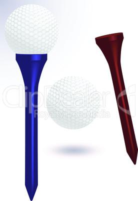 Golf ball and tee vector illustration.