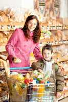 Grocery store shopping - Happy woman and child