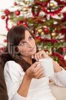 Attractive brunette in front of Christmas tree