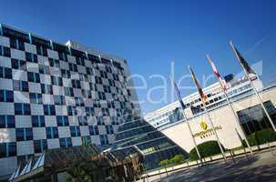Hotel Intercontinental Berlin Hochhaus mit Schachbrettmuster