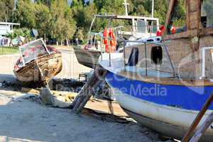 Fishing boat being repaired