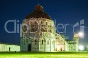 Night View of Piazza dei Miracoli with a Full Moon