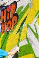 hand paint graffiti wall