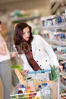 Shopping series - Brown hair woman in a supermarket