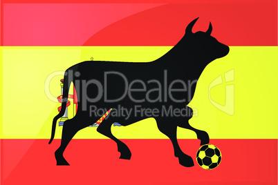 Stier mit Fußball auf Spanienflagge