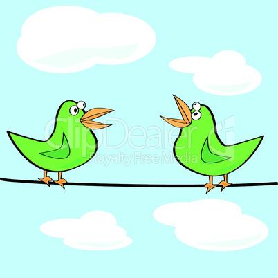 Vögel auf Drahtseil