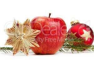 apfel, strohstern, christbaumkugel mit zweig