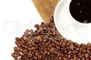 kaffeetasse bohnen jute von oben