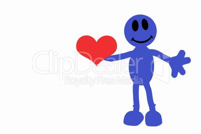 Blaumännchen zeigt Herz