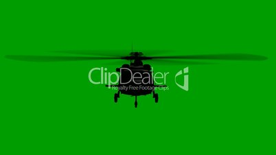 Helicopter flying on green
