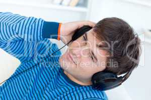 man with headphones relaxing