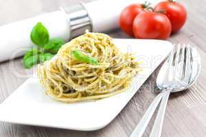 Spaghetti mit frischem Pesto / spaghetti with fresh pesto