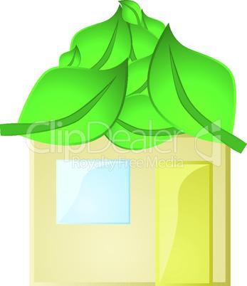 Haus mit Blätterdach