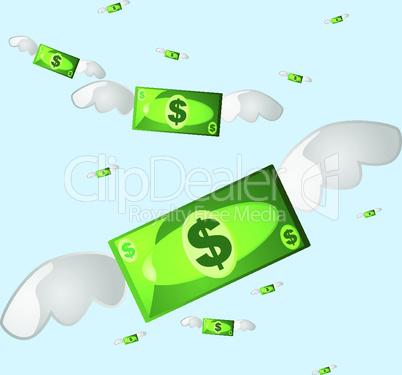 Geldscheine mit Flügeln