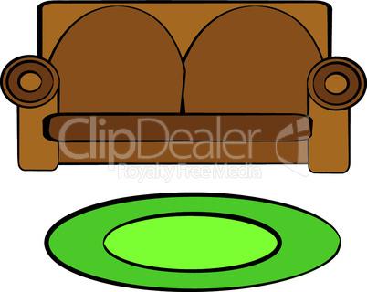 Sofa und Teppich