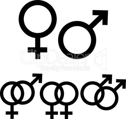 Symbole Mann und Frau