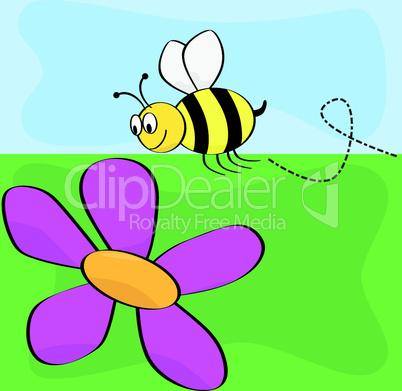 Lustige Biene mit Blume