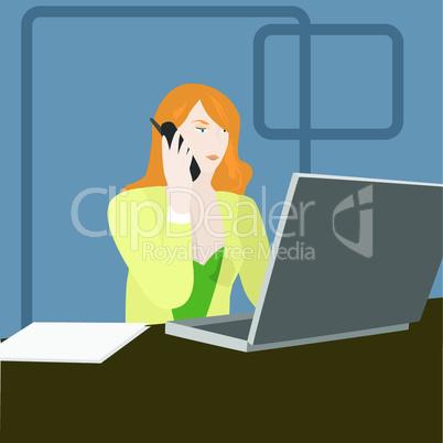 Geschäftsfrau vor Laptop