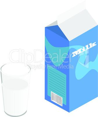 Milchkarton und Glas