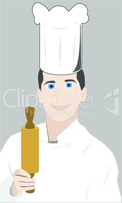 Koch mit Nudelholz