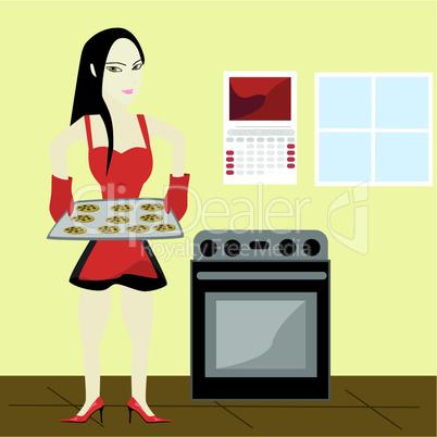 Frau mit Keksen