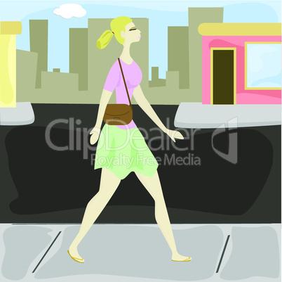 Blonde Frau in Stadt