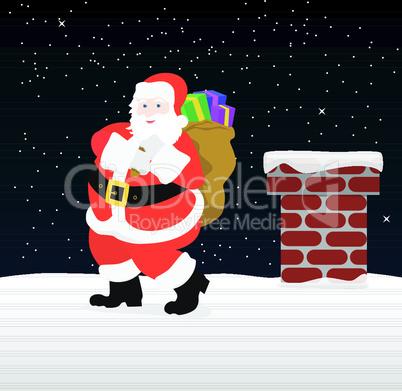Weihnachtsmann auf Dach
