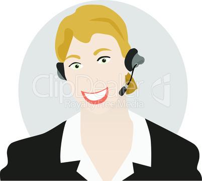 Frau mit Headset