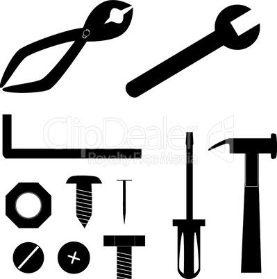 Schwarze Werkzeuge