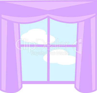 Fenster mit lila Vorhang