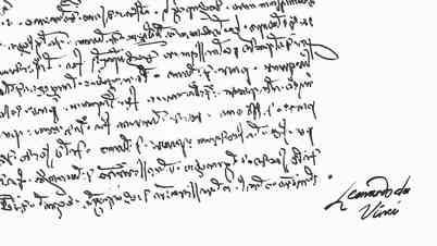 """Specific handwriting of Leonardo da Vinci (mirror), right to left. Based on type part of famous """"vetruvian"""" picture."""