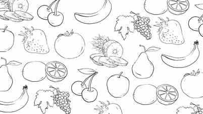 Fruit assortment. Abstract cartoon background.