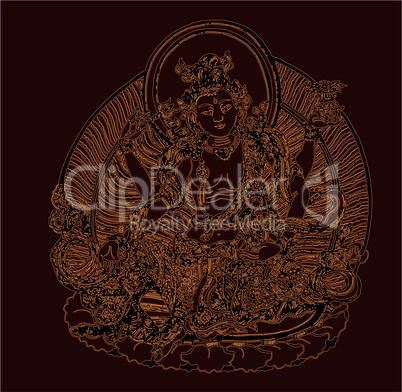 Eine Form des Avalokiteshvara mit Gita