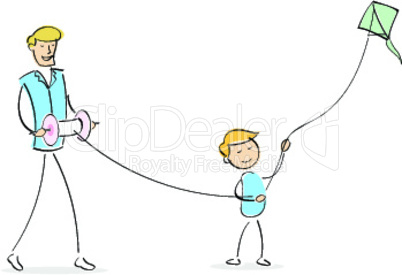 illustration of happy dad and son